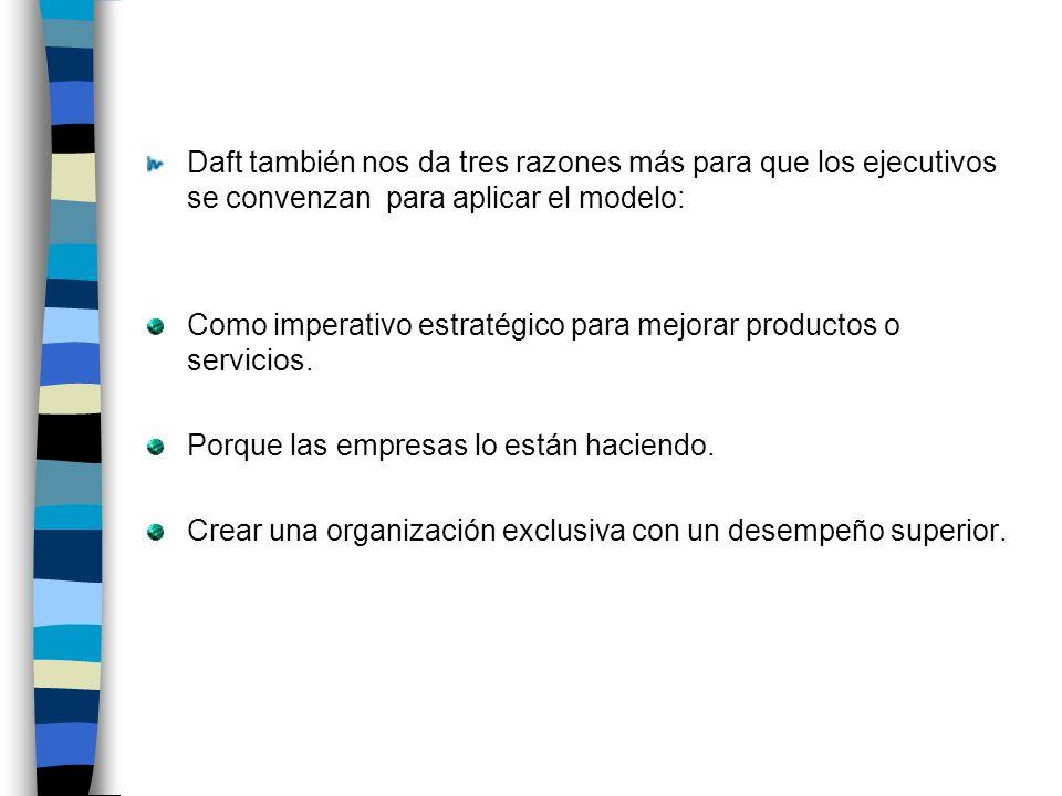 Daft también nos da tres razones más para que los ejecutivos se convenzan para aplicar el modelo: Como imperativo estratégico para mejorar productos o servicios.