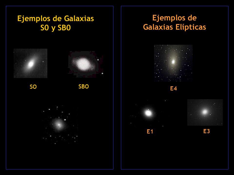 Ejemplos de Galaxias Elípticas Ejemplos de Galaxias S0 y SB0 SO SBO E1 E3 E4