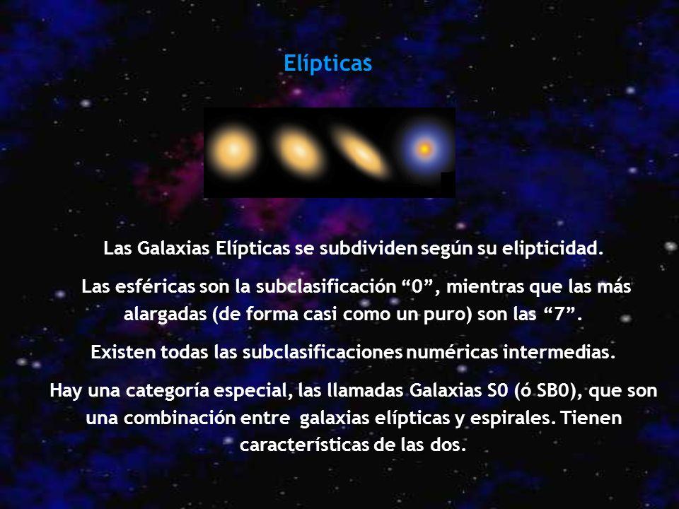 Elípticas Las Galaxias Elípticas se subdividen según su elipticidad. Las esféricas son la subclasificación 0, mientras que las más alargadas (de forma