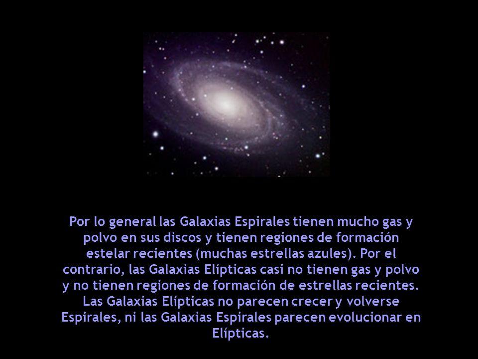 Por lo general las Galaxias Espirales tienen mucho gas y polvo en sus discos y tienen regiones de formación estelar recientes (muchas estrellas azules