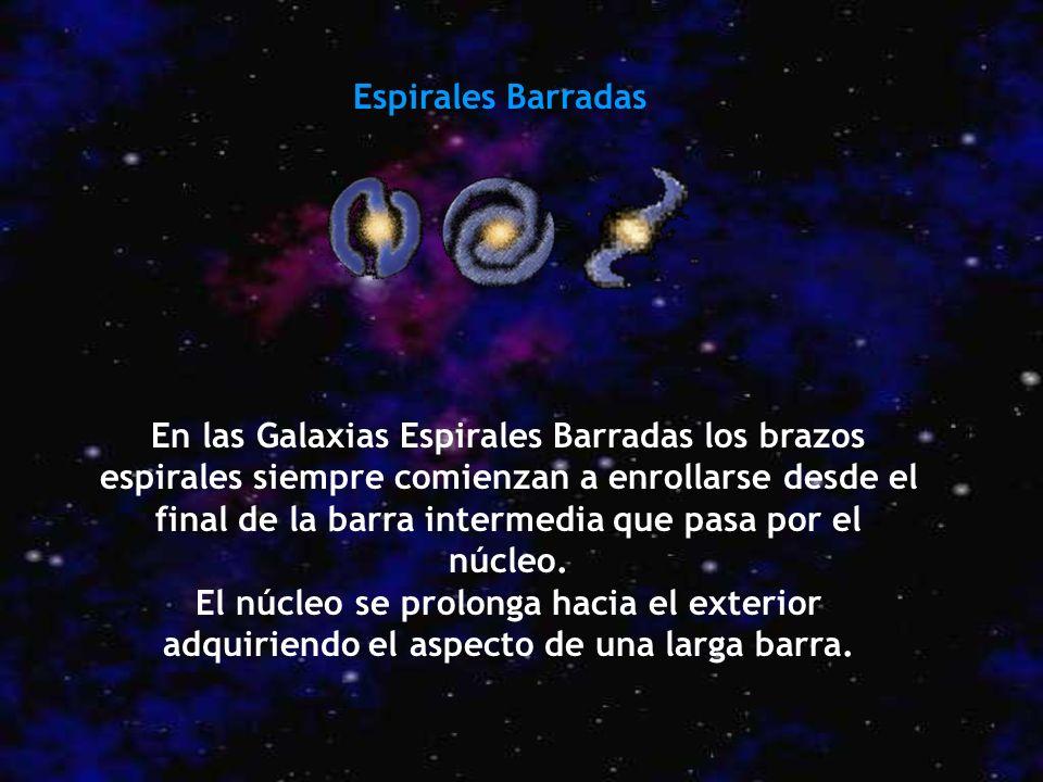 Espirales Barradas En las Galaxias Espirales Barradas los brazos espirales siempre comienzan a enrollarse desde el final de la barra intermedia que pa