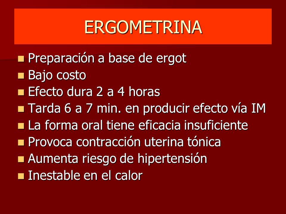 ERGOMETRINA Preparación a base de ergot Preparación a base de ergot Bajo costo Bajo costo Efecto dura 2 a 4 horas Efecto dura 2 a 4 horas Tarda 6 a 7