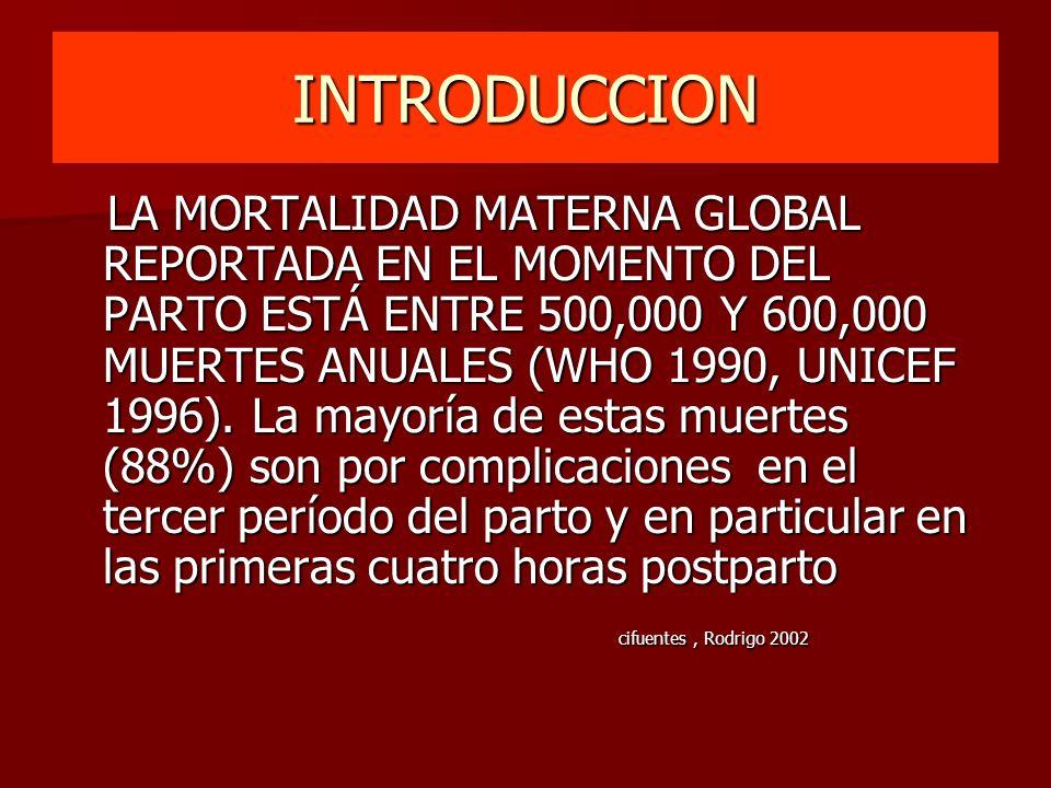 INTRODUCCION LA MORTALIDAD MATERNA GLOBAL REPORTADA EN EL MOMENTO DEL PARTO ESTÁ ENTRE 500,000 Y 600,000 MUERTES ANUALES (WHO 1990, UNICEF 1996). La m