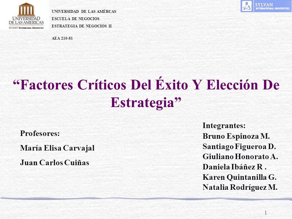 1 Factores Críticos Del Éxito Y Elección De Estrategia UNIVERSIDAD DE LAS AMÉRCAS ESCUELA DE NEGOCIOS ESTRATEGIA DE NEGOCIOS II AEA 210-81 Profesores: