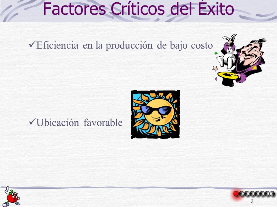 3 Factores Críticos del Éxito Eficiencia en la producción de bajo costo Ubicación favorable