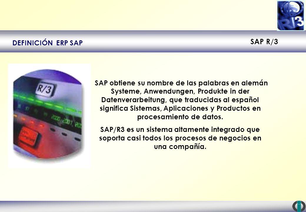 SAP R/3 DEFINICIÓN ERP SAP SAP obtiene su nombre de las palabras en alemán Systeme, Anwendungen, Produkte in der Datenverarbeitung, que traducidas al