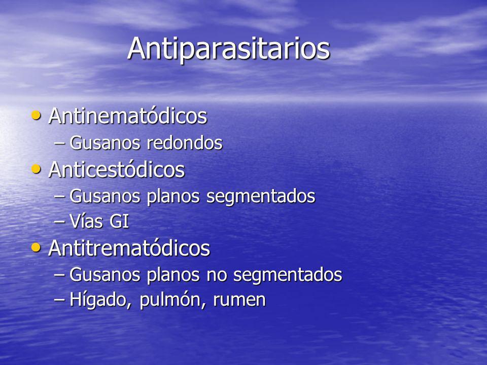 Antiparasitarios Antinematódicos Antinematódicos –Gusanos redondos Anticestódicos Anticestódicos –Gusanos planos segmentados –Vías GI Antitrematódicos