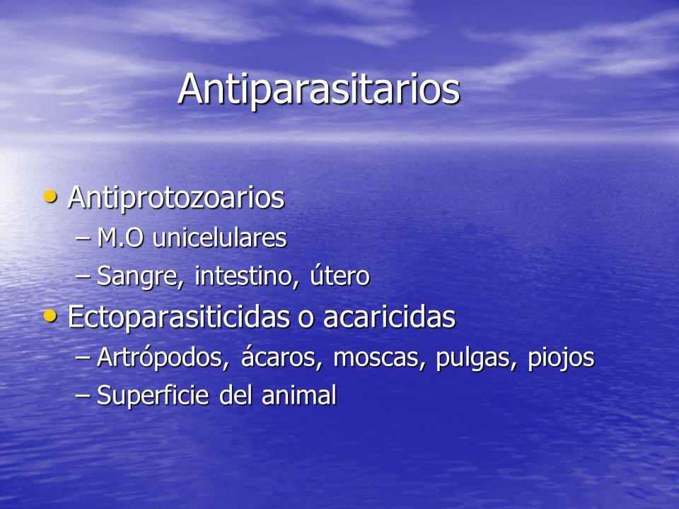 Antiparasitarios Antiprotozoarios Antiprotozoarios –M.O unicelulares –Sangre, intestino, útero Ectoparasiticidas o acaricidas Ectoparasiticidas o acar