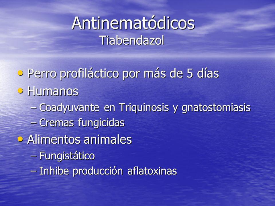 Antinematódicos Tiabendazol Perro profiláctico por más de 5 días Perro profiláctico por más de 5 días Humanos Humanos –Coadyuvante en Triquinosis y gn