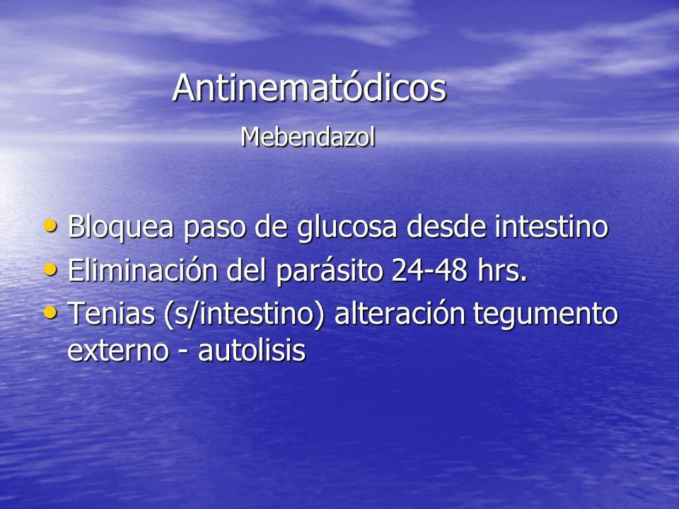 Antinematódicos Mebendazol Bloquea paso de glucosa desde intestino Bloquea paso de glucosa desde intestino Eliminación del parásito 24-48 hrs. Elimina