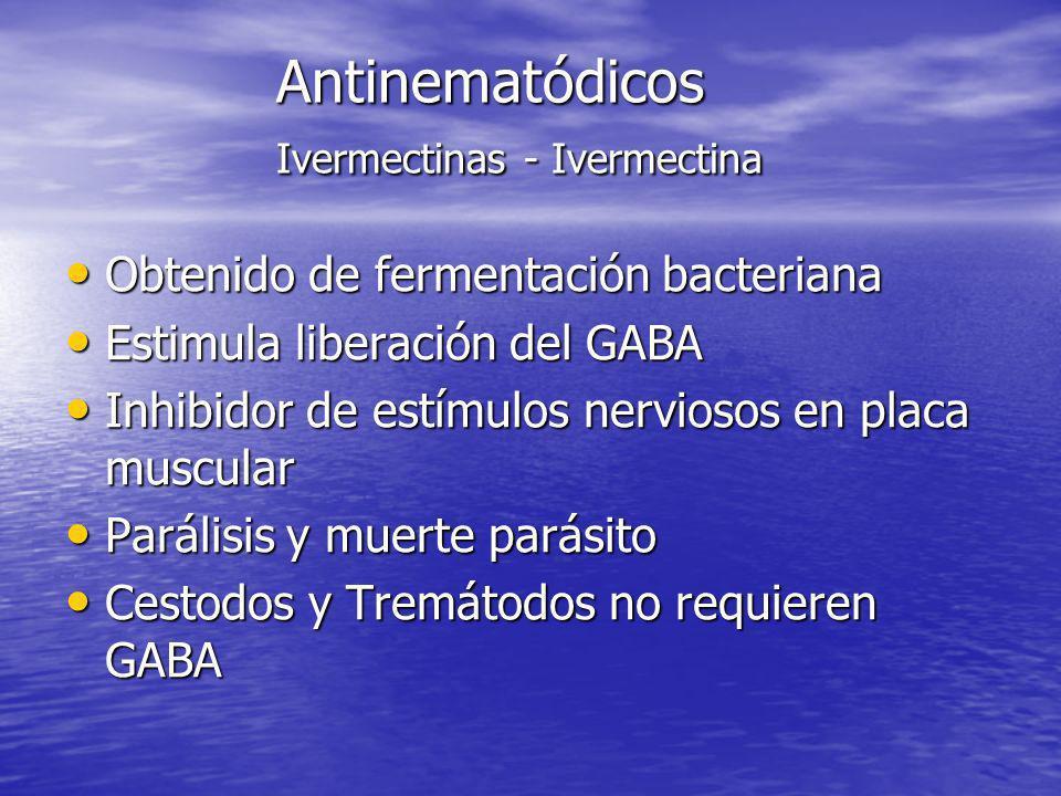 Antinematódicos Ivermectinas - Ivermectina Obtenido de fermentación bacteriana Obtenido de fermentación bacteriana Estimula liberación del GABA Estimu