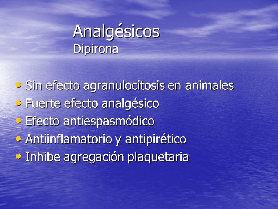 Analgésicos Dipirona Sin efecto agranulocitosis en animales Sin efecto agranulocitosis en animales Fuerte efecto analgésico Fuerte efecto analgésico E