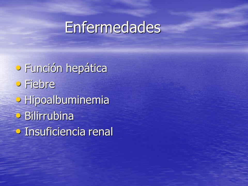 Enfermedades Función hepática Función hepática Fiebre Fiebre Hipoalbuminemia Hipoalbuminemia Bilirrubina Bilirrubina Insuficiencia renal Insuficiencia