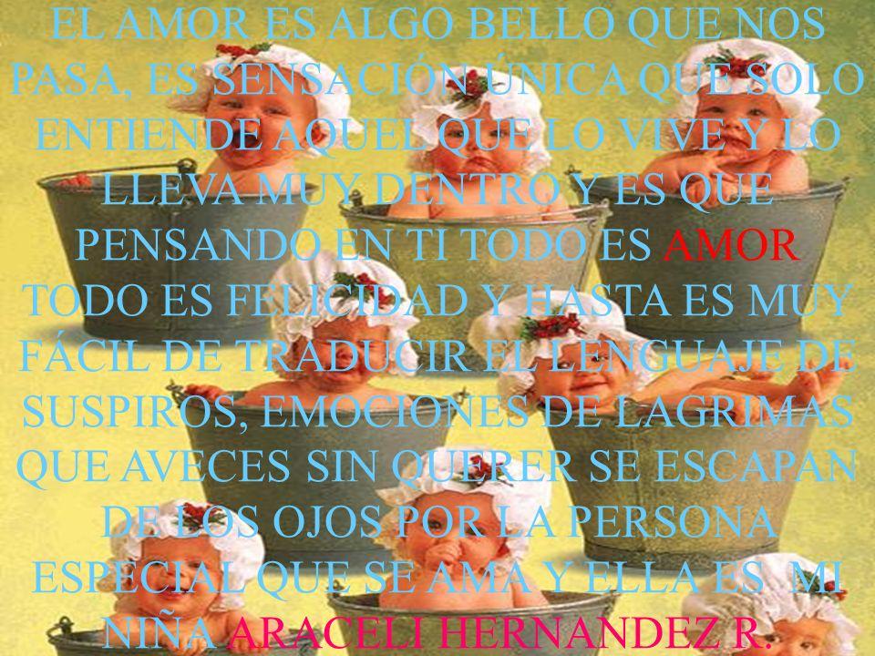 EL AMOR ES ALGO BELLO QUE NOS PASA, ES SENSACIÓN ÚNICA QUE SOLO ENTIENDE AQUEL QUE LO VIVE Y LO LLEVA MUY DENTRO Y ES QUE PENSANDO EN TI TODO ES AMOR TODO ES FELICIDAD Y HASTA ES MUY FÁCIL DE TRADUCIR EL LENGUAJE DE SUSPIROS, EMOCIONES DE LAGRIMAS QUE AVECES SIN QUERER SE ESCAPAN DE LOS OJOS POR LA PERSONA ESPECIAL QUE SE AMA Y ELLA ES MI NIÑA ARACELI HERNANDEZ R.R.