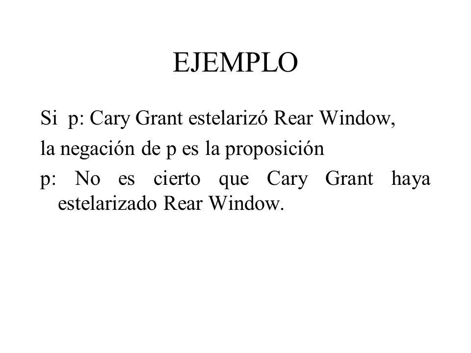 EJEMPLO Si p: Cary Grant estelarizó Rear Window, la negación de p es la proposición p: No es cierto que Cary Grant haya estelarizado Rear Window.