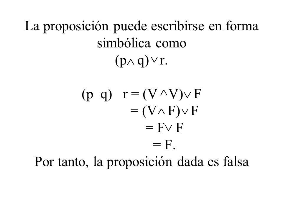 La proposición puede escribirse en forma simbólica como (p q) r. (p q) r = (V V) F = (V F) F = F F = F. Por tanto, la proposición dada es falsa