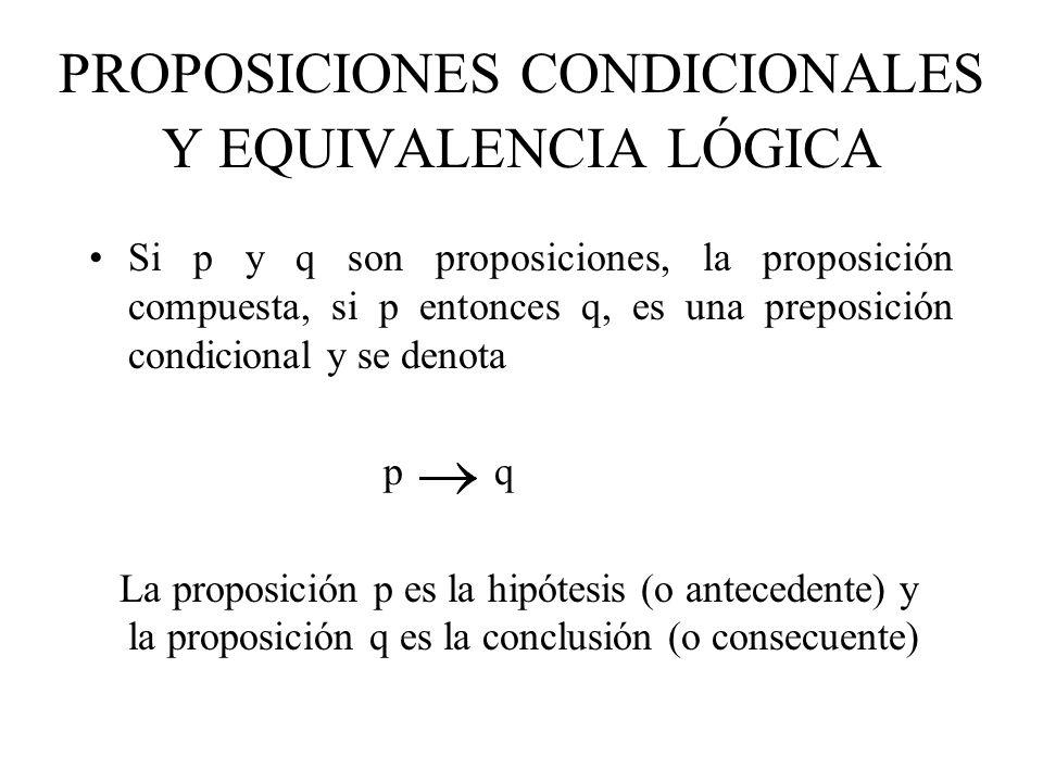 PROPOSICIONES CONDICIONALES Y EQUIVALENCIA LÓGICA Si p y q son proposiciones, la proposición compuesta, si p entonces q, es una preposición condiciona