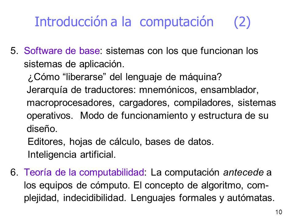 10 Introducción a la computación (2) 5. Software de base: sistemas con los que funcionan los sistemas de aplicación. ¿Cómo liberarse del lenguaje de m