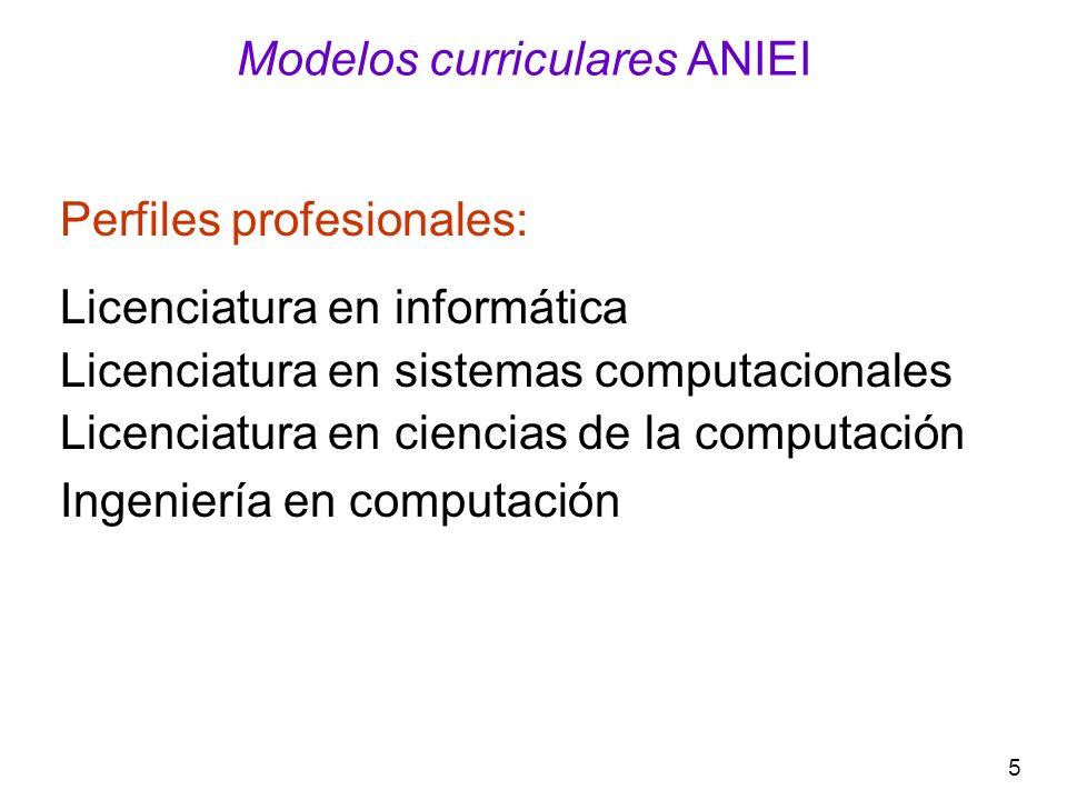 5 Modelos curriculares ANIEI Perfiles profesionales: Licenciatura en informática Licenciatura en sistemas computacionales Licenciatura en ciencias de