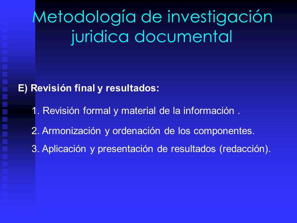 Metodología de investigación juridica documental C) Recopilacion de datos: 1.Captura de datos en fichas bibliográficas y de contenido. 2. Utilizar los