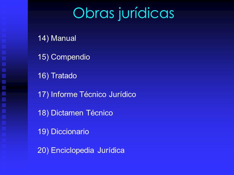 Obras jurídicas 6) Laudo: Fallo de los árbitros, son producto de la investigación juridica. 7) Convenio: Requiere de elementos para su validez. 8) Dic