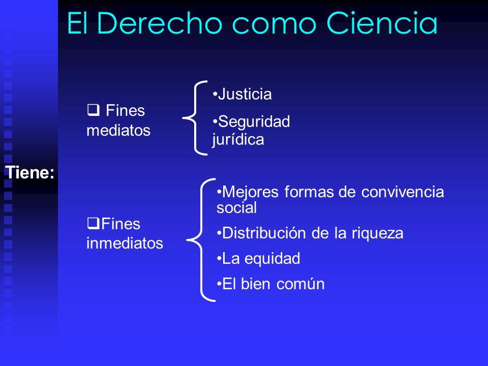 El Derecho como Ciencia Fines mediatos Fines inmediatos Justicia Seguridad jurídica Tiene: Mejores formas de convivencia social Distribución de la riqueza La equidad El bien común