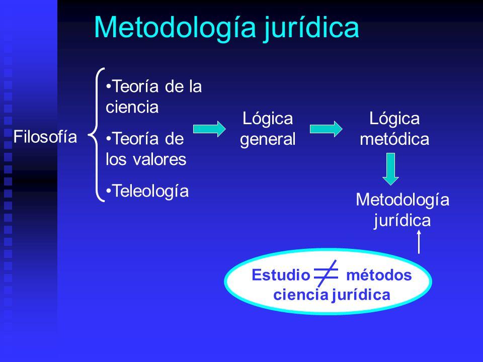 Metodología jurídica Estudio métodos ciencia jurídica Filosofía Teoría de la ciencia Teoría de los valores Teleología Lógica general Lógica metódica Metodología jurídica
