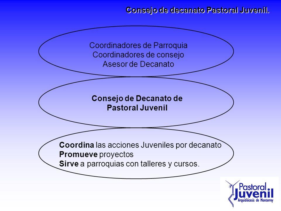 Consejo de Decanato de Pastoral Juvenil Coordina las acciones Juveniles por decanato Promueve proyectos Sirve a parroquias con talleres y cursos. Coor