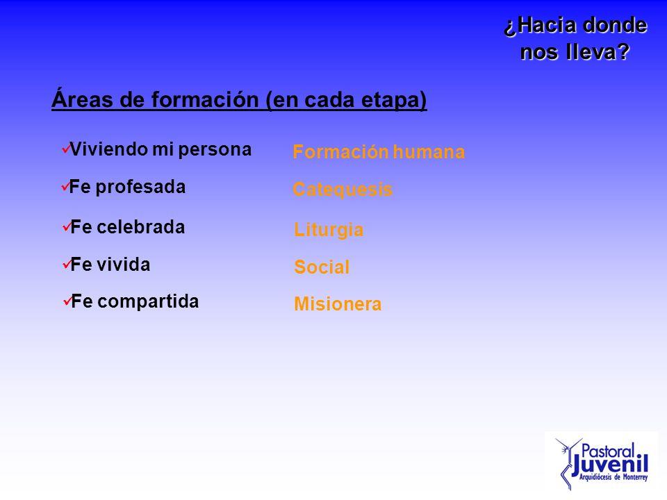 Áreas de formación (en cada etapa) Viviendo mi persona Fe profesada Fe celebrada Fe vivida Formación humana Catequesis Liturgia Social Fe compartida M