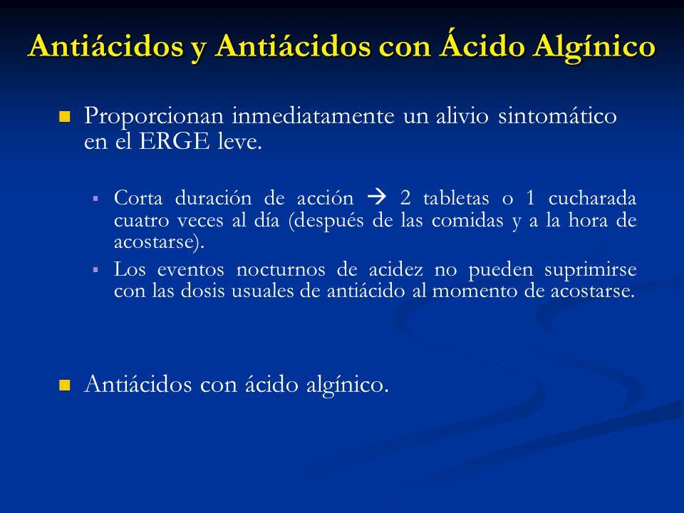 Antiácidos y Antiácidos con Ácido Algínico Proporcionan inmediatamente un alivio sintomático en el ERGE leve. Corta duración de acción 2 tabletas o 1