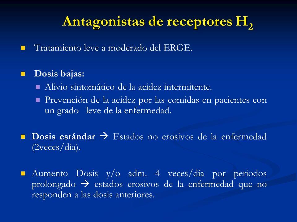 Antagonistas de receptores H 2 Tratamiento leve a moderado del ERGE. Dosis bajas: Alivio sintomático de la acidez intermitente. Prevención de la acide