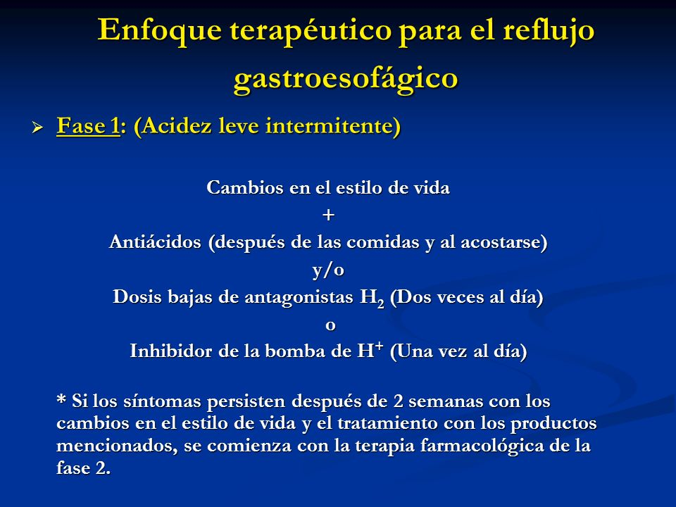 Enfoque terapéutico para el reflujo gastroesofágico Fase 1: (Acidez leve intermitente) Fase 1: (Acidez leve intermitente) Cambios en el estilo de vida
