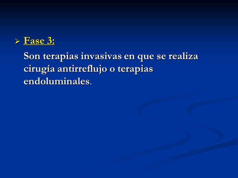 Fase 3: Fase 3: Son terapias invasivas en que se realiza cirugía antirreflujo o terapias endoluminales.