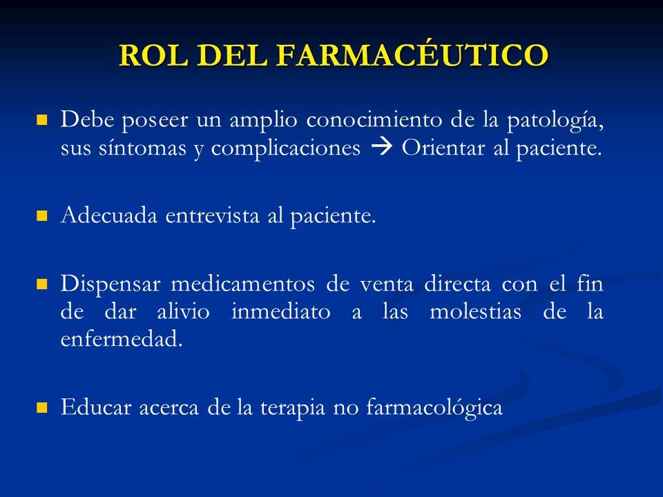 ROL DEL FARMACÉUTICO Debe poseer un amplio conocimiento de la patología, sus síntomas y complicaciones Orientar al paciente. Adecuada entrevista al pa