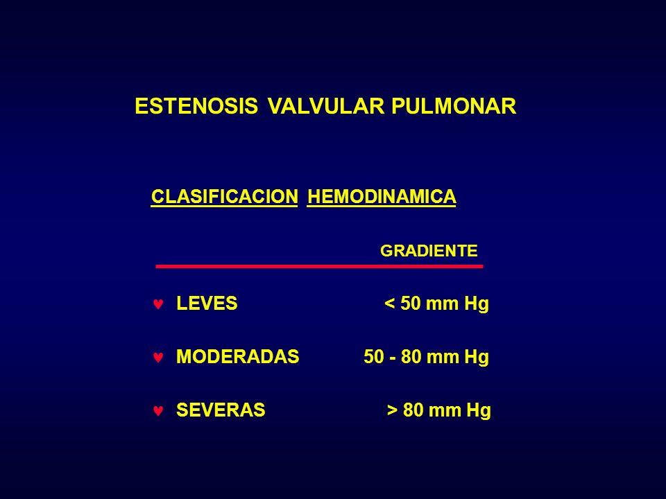 ESTENOSIS VALVULAR PULMONAR CLASIFICACION HEMODINAMICA GRADIENTE LEVES < 50 mm Hg MODERADAS 50 - 80 mm Hg SEVERAS > 80 mm Hg