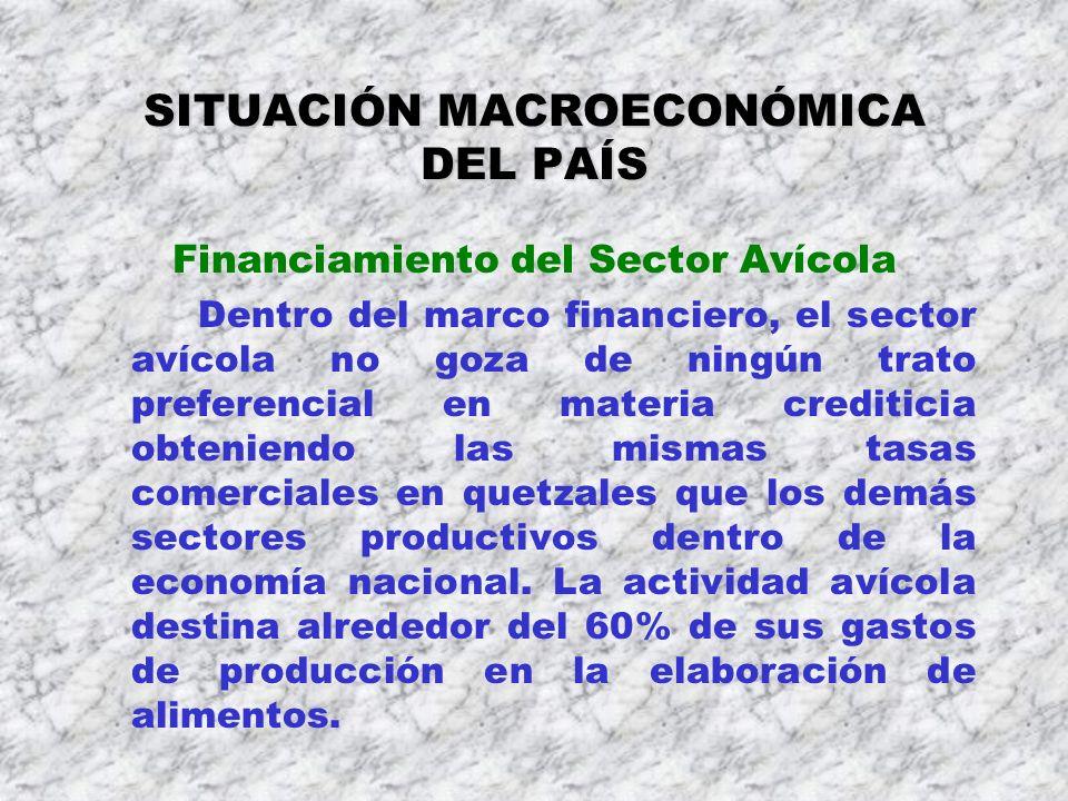 SITUACIÓN MACROECONÓMICA DEL PAÍS Financiamiento del Sector Avícola Dentro del marco financiero, el sector avícola no goza de ningún trato preferencia