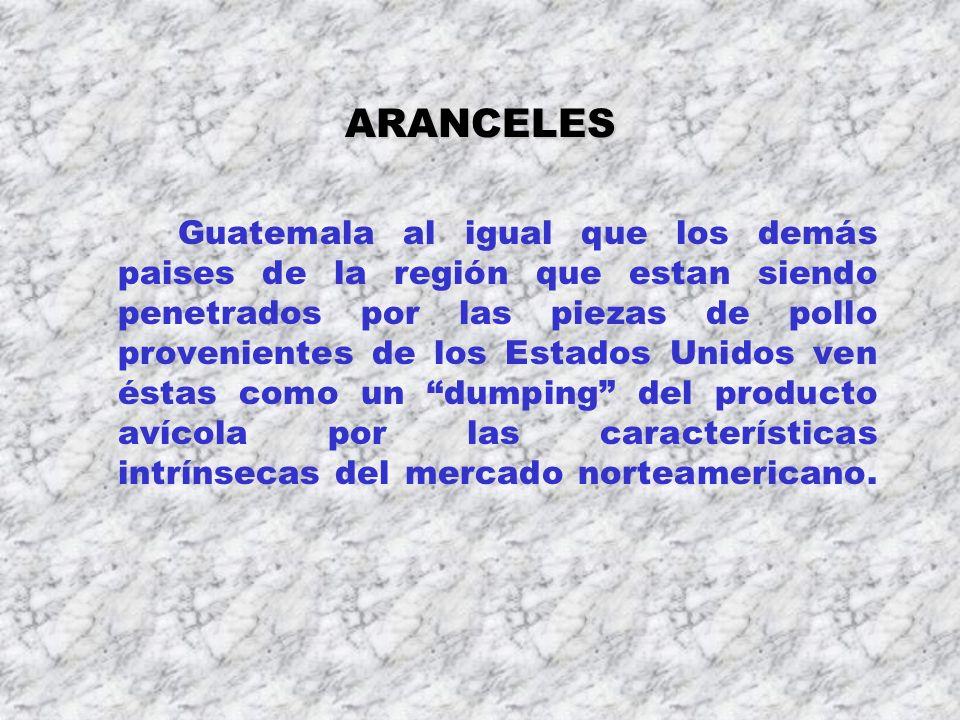 ARANCELES Guatemala al igual que los demás paises de la región que estan siendo penetrados por las piezas de pollo provenientes de los Estados Unidos