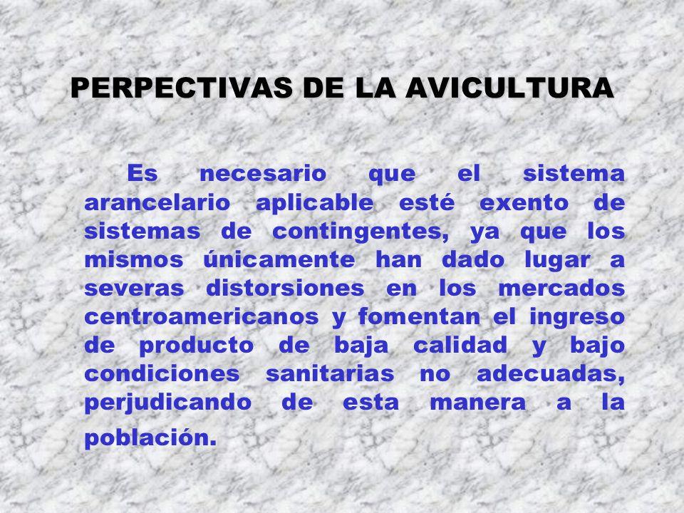 PERPECTIVAS DE LA AVICULTURA Es necesario que el sistema arancelario aplicable esté exento de sistemas de contingentes, ya que los mismos únicamente h