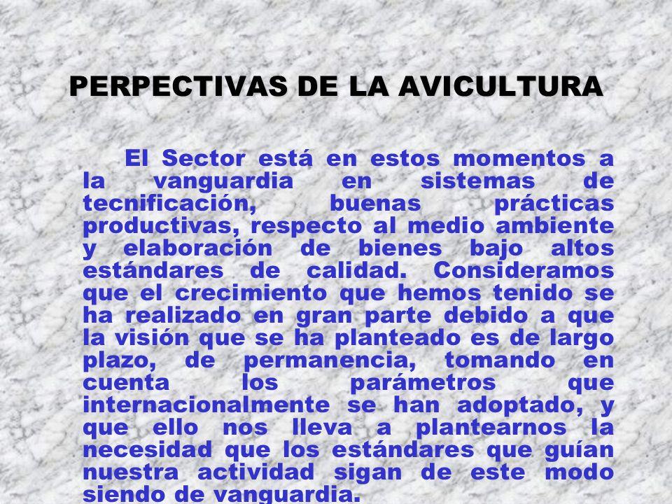 PERPECTIVAS DE LA AVICULTURA El Sector está en estos momentos a la vanguardia en sistemas de tecnificación, buenas prácticas productivas, respecto al