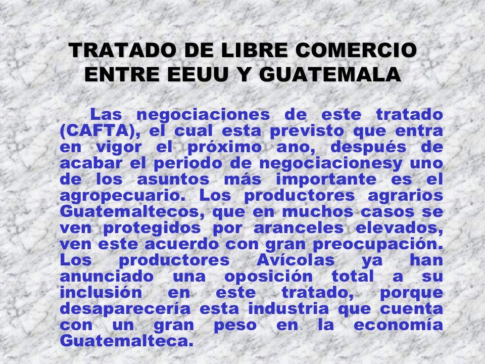 TRATADO DE LIBRE COMERCIO ENTRE EEUU Y GUATEMALA Las negociaciones de este tratado (CAFTA), el cual esta previsto que entra en vigor el próximo ano, d