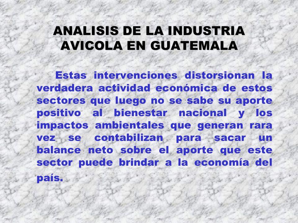 ANALISIS DE LA INDUSTRIA AVICOLA EN GUATEMALA Estas intervenciones distorsionan la verdadera actividad económica de estos sectores que luego no se sab