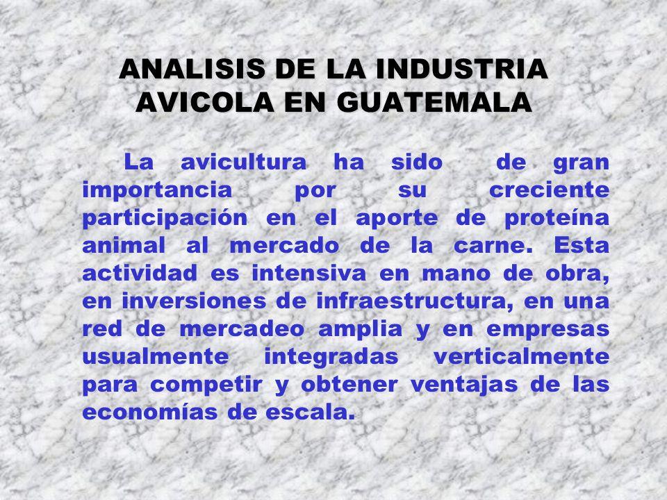 ANALISIS DE LA INDUSTRIA AVICOLA EN GUATEMALA La avicultura ha sido de gran importancia por su creciente participación en el aporte de proteína animal