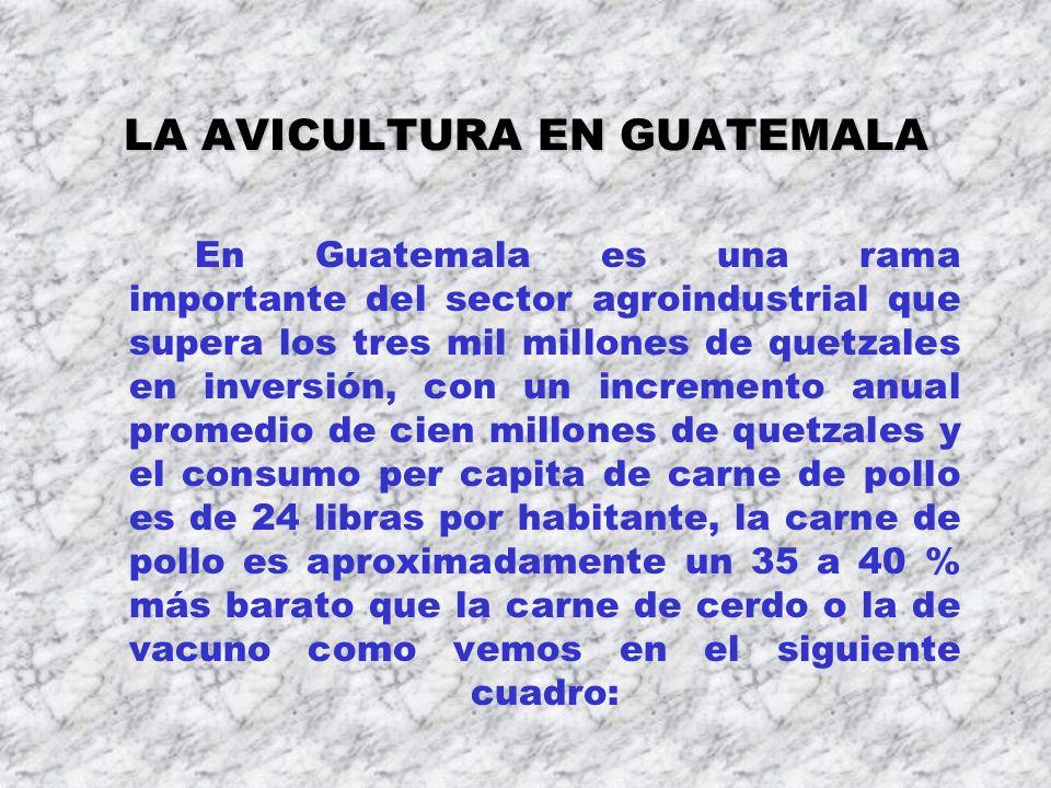 LA AVICULTURA EN GUATEMALA En Guatemala es una rama importante del sector agroindustrial que supera los tres mil millones de quetzales en inversión, c