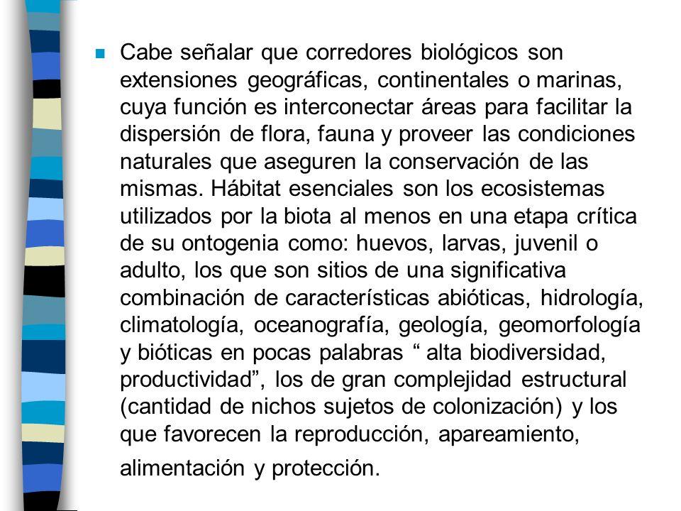 n Cabe señalar que corredores biológicos son extensiones geográficas, continentales o marinas, cuya función es interconectar áreas para facilitar la d