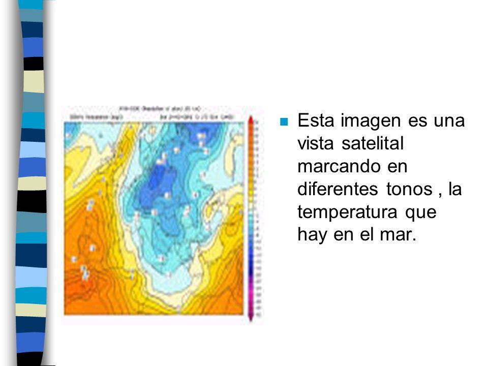 n Esta imagen es una vista satelital marcando en diferentes tonos, la temperatura que hay en el mar.