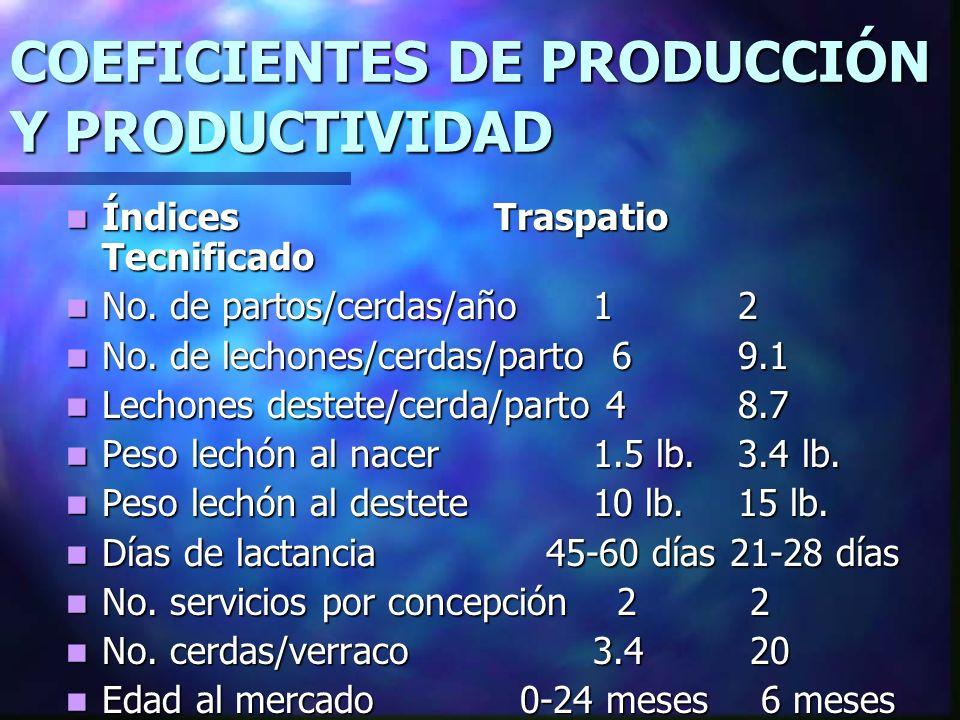 COEFICIENTES DE PRODUCCIÓN Y PRODUCTIVIDAD Índices Traspatio Tecnificado Índices Traspatio Tecnificado No. de partos/cerdas/año 1 2 No. de partos/cerd