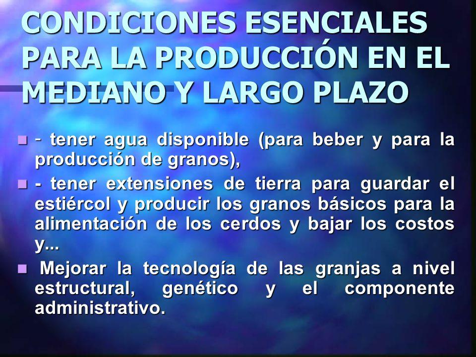 CONDICIONES ESENCIALES PARA LA PRODUCCIÓN EN EL MEDIANO Y LARGO PLAZO - tener agua disponible (para beber y para la producción de granos), - tener agu