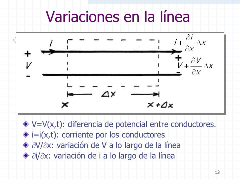 13 Variaciones en la línea V=V(x,t): diferencia de potencial entre conductores. i=i(x,t): corriente por los conductores V/ x: variación de V a lo larg
