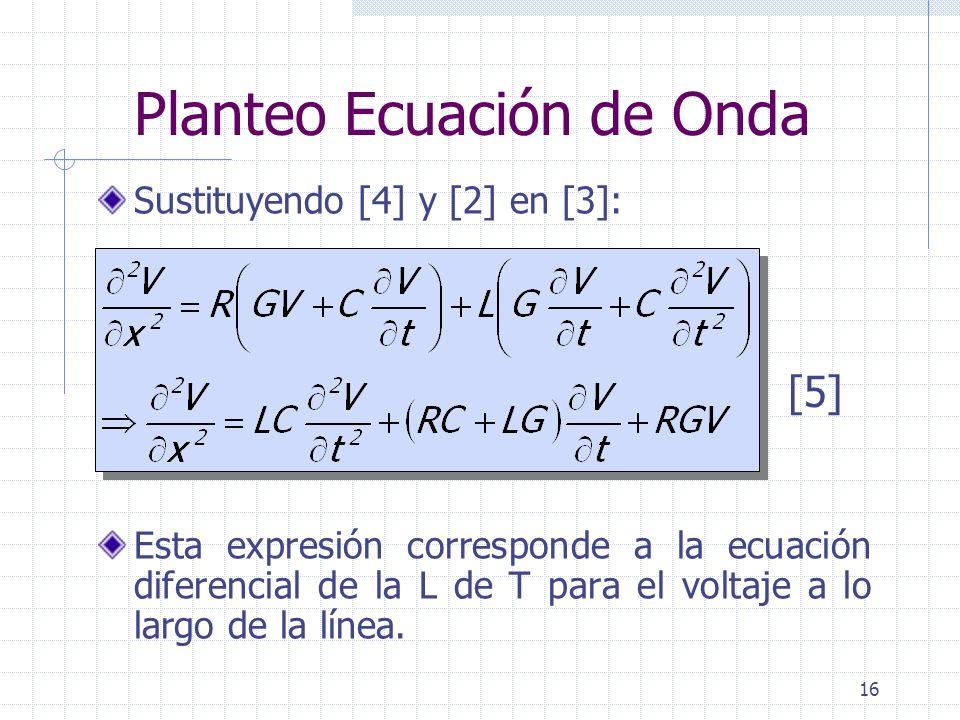 16 Planteo Ecuación de Onda Sustituyendo [4] y [2] en [3]: Esta expresión corresponde a la ecuación diferencial de la L de T para el voltaje a lo larg