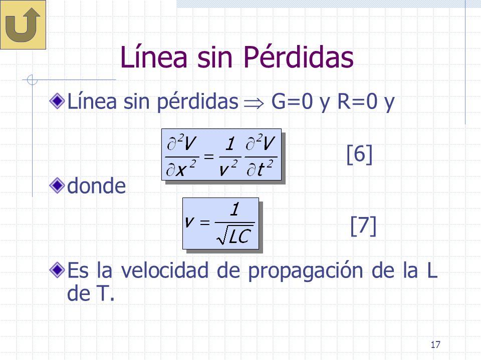 17 Línea sin Pérdidas Línea sin pérdidas G=0 y R=0 y donde Es la velocidad de propagación de la L de T. [6] [7]